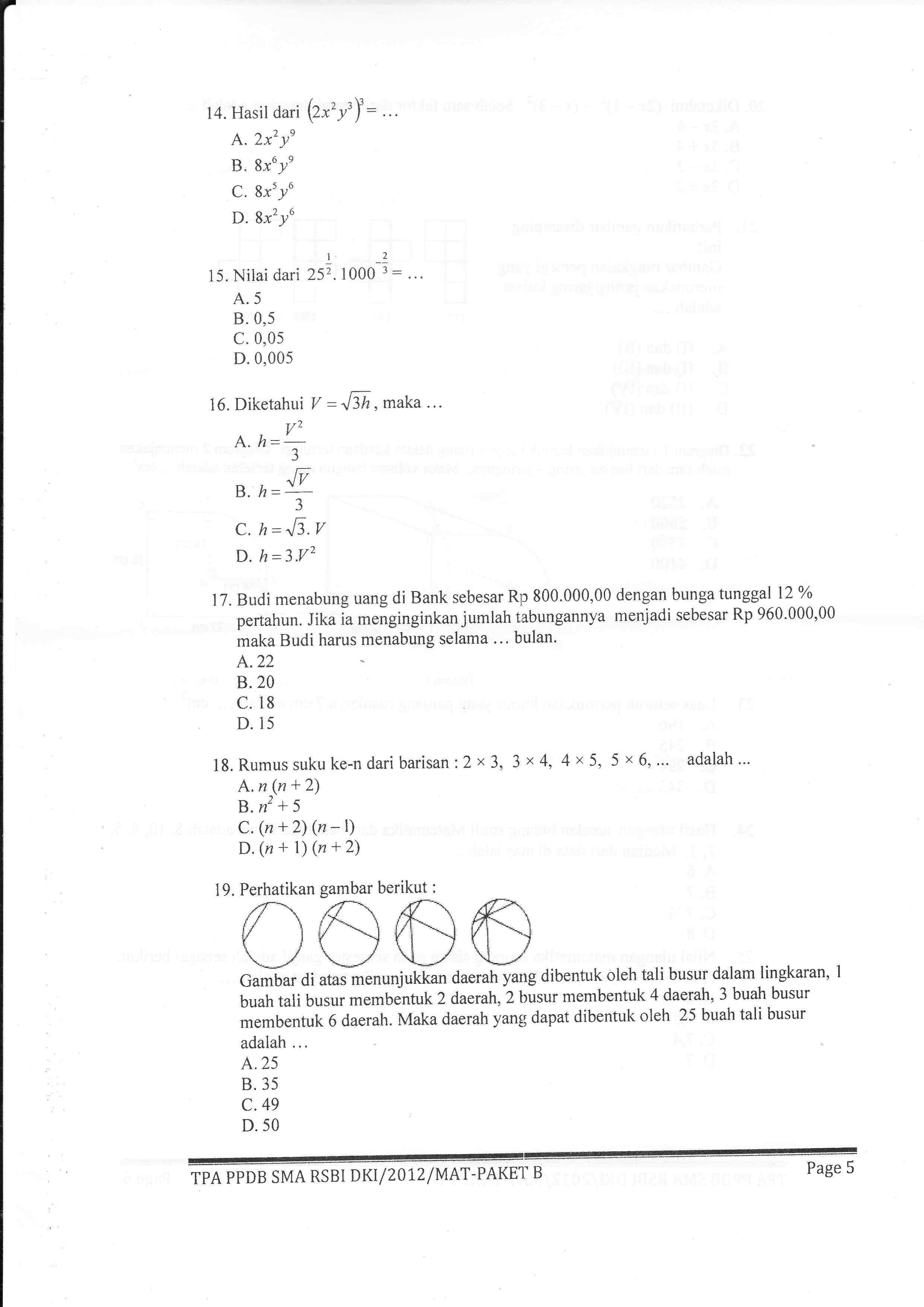 Contoh Soal Psikotes Masuk Sma Favorit Dan Jawabannya Kumpulan Materi Pelajaran Dan Contoh Soal 5